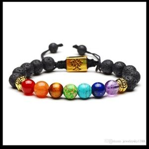 Gold Tree of Life Chakra Lava Stone Bracelet